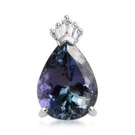 RHAPSODY 950 Platinum AAAA Peacock Tanzanite (Pear), Diamond (VS/E-F) Pendant 3.25 Ct.