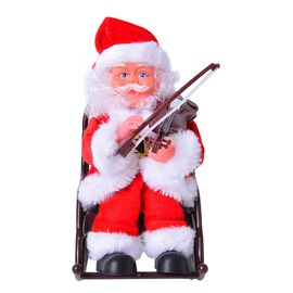 Xmas Decorations - Singing Electric Santa Claus Playing Violin (Size 22x19 Cm)