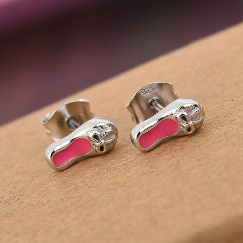 Platinum Overlay Sterling Silver Enamelled Ballet Shoes with Bowknot Kids Earrings (with Push Back)