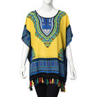 100% Cotton African Art Pattern Apparel with Tassels (One Size Fits All; 75x70 Cm) - Yellow and Mult
