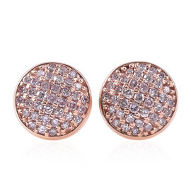 Super Auction - 9K Rose Gold Natural Pink Diamond (Rnd) Cluster Stud Earrings (with Push Back) 0.35