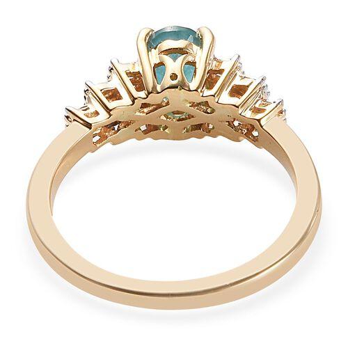 ILIANA 18K Yellow Gold AAAA Grandidierite (Ovl 7x5mm), Diamond (SI/G-H) Ballerina Ring 1.00 Ct.