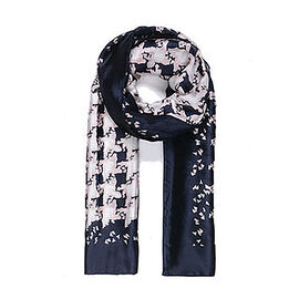 One Time Deal- Designer Inspired Silk Like Printed Scarf - Navy and Pink