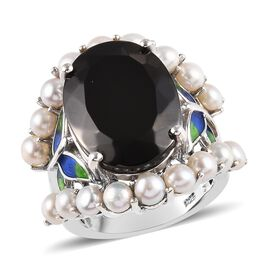 11.25 Ct Elite Shungite and Freshwater Pearl Enamelled Classic Ring in Platinum Plated Silver