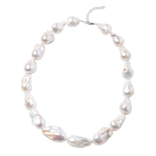 Super Auction - RHAPSODY 950 Platinum AAAAA White Baroque Pearl Necklace (Size 18 With 2 inch Extend