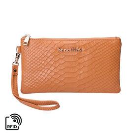 SENCILLEZ Genuine Leather RFID Protected Snake Skin Embossed Clutch Bag (19x11cm) - Orange