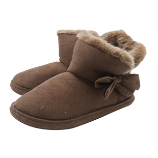 Womens Comfy Winter Bootie Slippers with Bow - Dark Brown (Size 4)