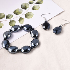2 Piece Set - Simulated Blue Sapphire Beads Hook Earrings and Stretchable Bracelet (Size 7)