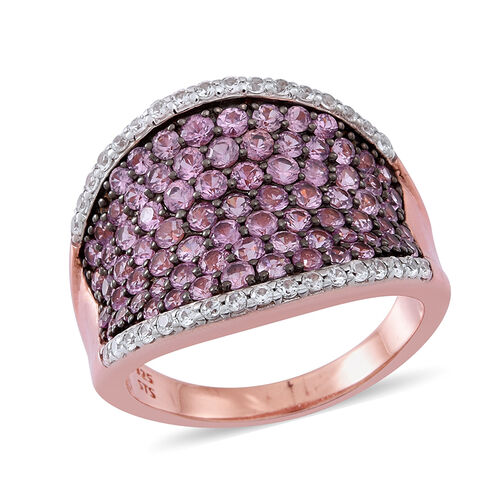 Limited Available- AA Pink Sapphire (Rnd), Natural Cambodian White Zircon Saddle Ring in 14K Rose Gold Overlay Sterling Silver 4.500 Ct.