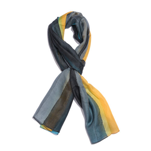 100% Mulberry Silk Black, Grey, Yellow and Turquoise Colour Hand Screen Printed Scarf (Size 180X50 C