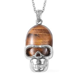 15 Carat Tigers Eye Skull Pendant with Chain in Stainless Steel 24 Inch