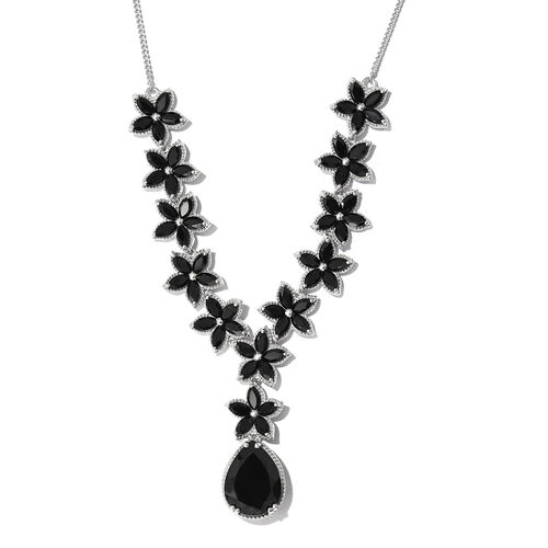 Boi Ploi Black Spinel (Pear) Floral Necklace (Size 18) in Platinum Overlay Sterling Silver 48.500 Ct. Silver wt 27.21 Gms.