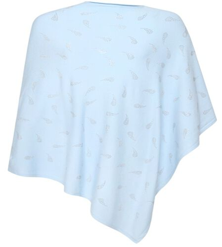 Kris Ana Paisley Scattered Baby Blue Poncho One Size (8-18)