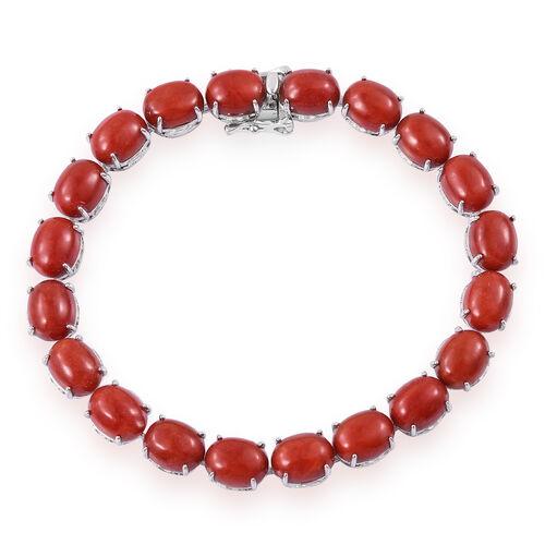 Red Jade (Ovl) Dragon Bracelet (Size 7.5) in Platinum Overlay Sterling Silver 51.000 Ct. Silver wt 12.50 Gms.