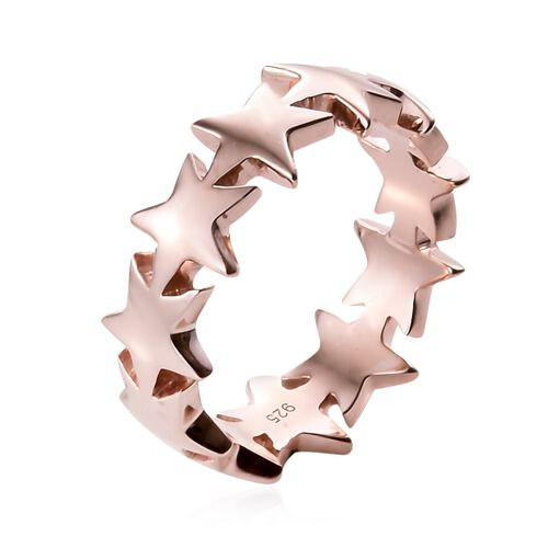 Rose Gold Overlay Sterling Silver Star Ring