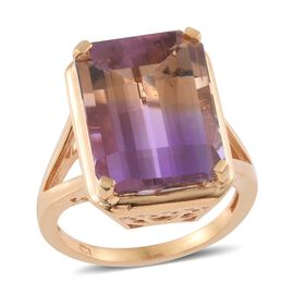 15.50 Ct Anahi Ametrine Solitaire Ring in 14K Gold Plated Sterling Silver 5.91 Grams