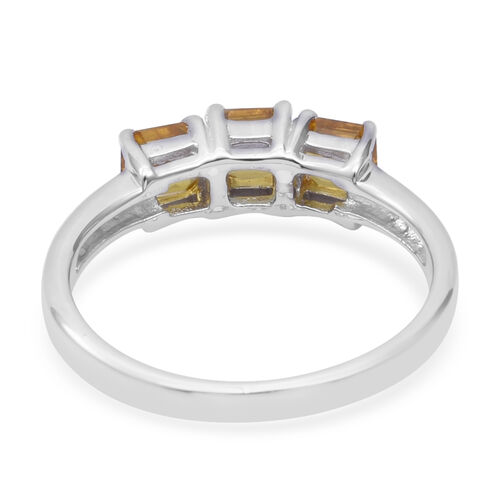 One Time Deal-  Chanthaburi Yellow Sapphire (Asscher Cut) Trilogy Ring in Rhodium Overlay Sterling Silver 1.290 Ct.