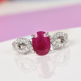 RACHEL GALLEY - 950 Platinum AAAA Burmese Ruby and Diamond (VS/E-F) Ring 1.75 Ct, Platinum wt. 5.30