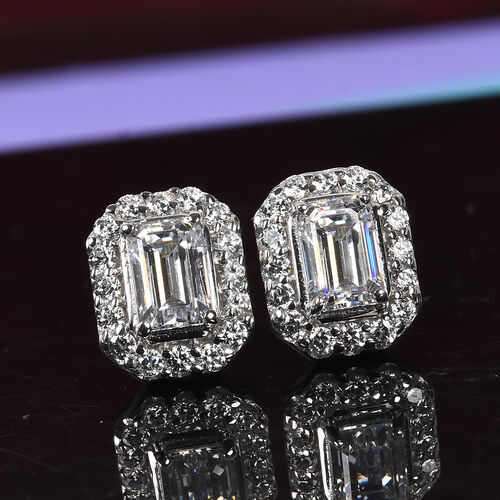 J Francis - Platinum Overlay Sterling Silver Stud Earrings (with Push Back) Made with SWAROVSKI ZIRCONIA 3.06 Ct.