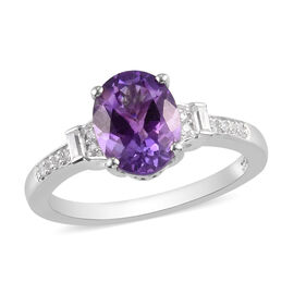 Natural Moroccan Amethyst and Natural Cambodian Zircon Ring in Sterling Silver 2.00 Ct.