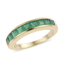 ILIANA 1.35 Ct AAA Kagem Zambian Emerald Half Eternity Band Ring in 18K Gold 4.41 Grams