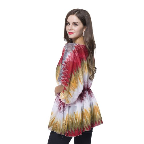 Red, Grey, White and Pink Colour Zig Zag Pattern Poncho (Free Size)