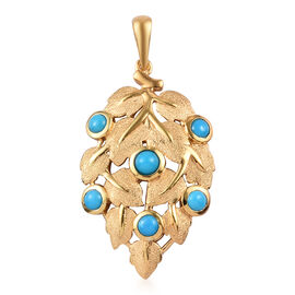 Arizona Sleeping Beauty Turquoise Leaf Design Pendant in 14K Gold Overlay Sterling Silver 0.99 Ct.