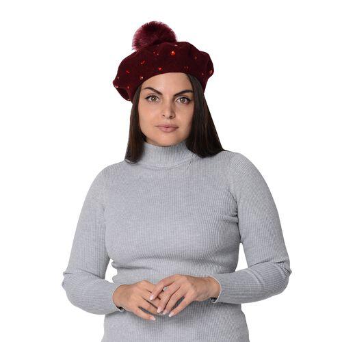 Winter Faux Fur Pompom Hat with beads (Size 52 Cm) - Wine