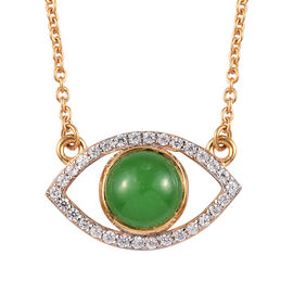 Sundays Child - Green Jade and Natural Cambodian Zircon Evil-Eye Pendant with Chain (Size 18) in 14K
