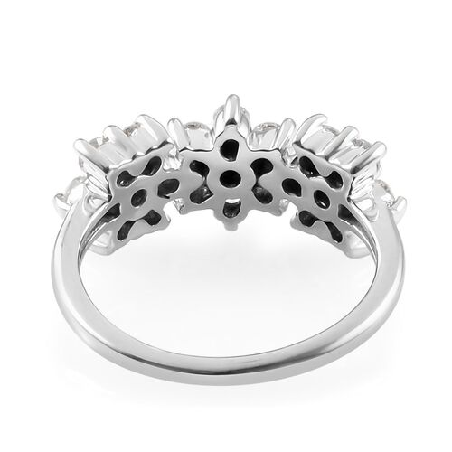 9K White Gold SGL Certified Diamond (I3/G-H) Floral Cluster Ring 1.00 Ct.