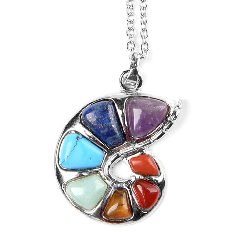 Multi Gemstone Pendant With Chain (Size 24) 22.0 Ct.