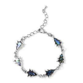 Abalone Shell Christmas Tree Design Bracelet in Silver Tone 8 With 2 Inch Extender