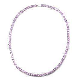 Simulated Amethyst Tennis Necklace (Size 17) in Silver Tone