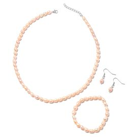 3 Piece Set- Freshwater Peach Pearl Necklace (Size 18 with 1 inch Extender) Bracelet (Stretchable) a