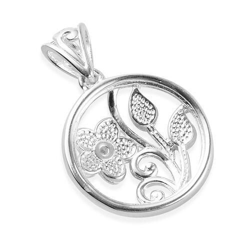 Diamond Jasmine Flower Enamelled Pendant in Sterling Silver