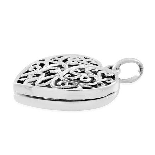 Designer Inspired - Sterling Silver Filigree Heart Locket Pendant, Silver wt. 4.65 Gms.