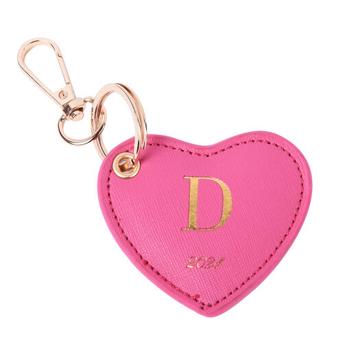 Pink Genuine Leather Heart Shaped Initial D Key Chain (7x6cm)