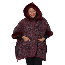 Cashew Flower Pattern Long Cape with Faux Fur Hood and Sleeves (One Size, L: 75cm) - Burgundy and Gr