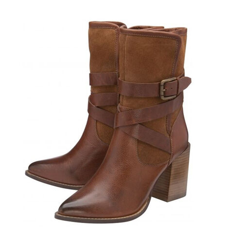 Ravel Santiago Leather Mid-Calf Boots with Buckle Details (Size 7) - Tan