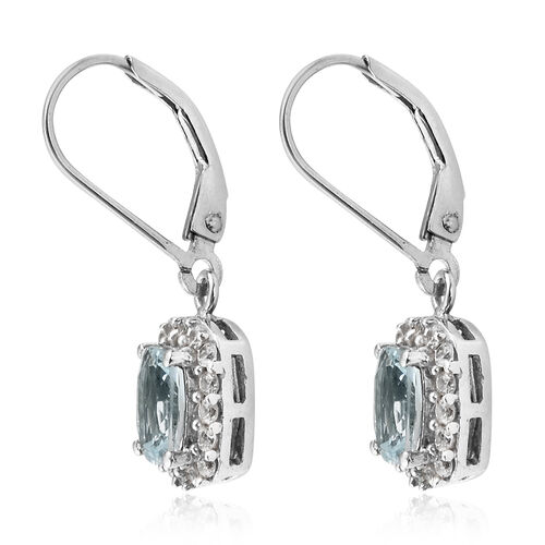 Espirito Santo Aquamarine (Cush), Natural Cambodian Zircon Lever Back Earrings in Platinum Overlay Sterling Silver 2.750 Ct.