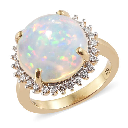 WEBEX- Iliana  18K Yellow Gold AAA Ethiopian Opal (Rnd 8.16 Ct), Diamond (SI/G-H) Ring 0.340 Ct, Gold wt 7.04 Gms.