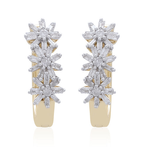 Exclusive Edition- 9K Yellow Gold Fire Cracker SGL Certified Diamond (Rnd and Bgt) (I3/G-H) Floral Earrings (with Clasp Lock) 0.500 Ct. Gold Wt 4.00 Grams