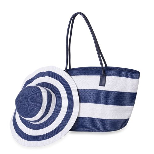 St. Tropez Collection- Blue and White Colour Stripe Pattern Tote Bag (Size 55x35x31x17 Cm) and Hat (