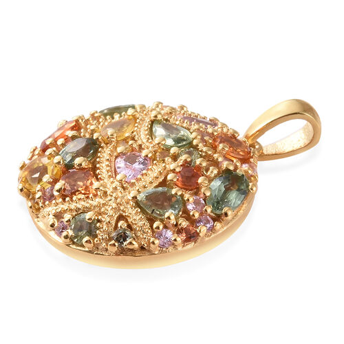 Multi Gem Stone 14K Gold Overlay Sterling Silver Pendant  3.750  Ct.