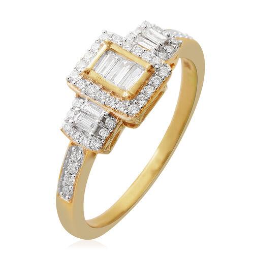 ILIANA 18K Yellow Gold IGI Certified Diamond (Bgt and Rnd) (SI /G-H) Ring 0.500 Ct.