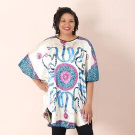 Women's Printed Short Sleeves Kaftan - Blue
