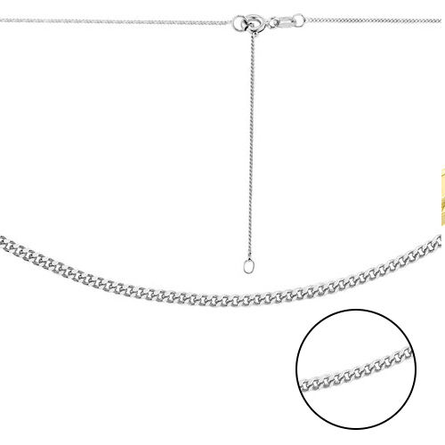 ILIANA 18K White Gold Diamond Cut Curb Chain (Size 16 with 2 inch Extender)