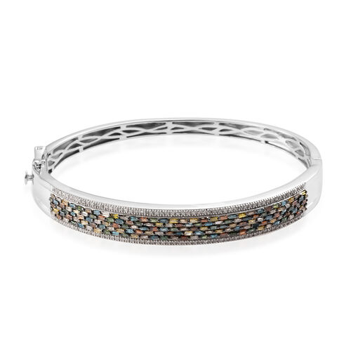 2.51 Ct Multi Colour Diamond Cluster Bangle in Platinum Plated Sterling Silver 22.24 Grams 7.5 Inch
