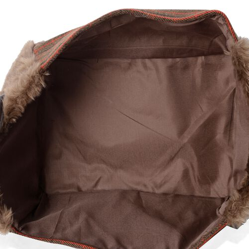 Set of 2 - Plaid Pattern Storage Basket  with Faux Fur - Brown Colour