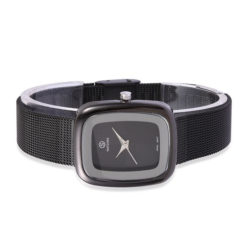 Designer Inspired-  STRADA Japanese Movement Double Sunshine Dial Water Resistant Watch in Black Tone with Mesh Chain Strap